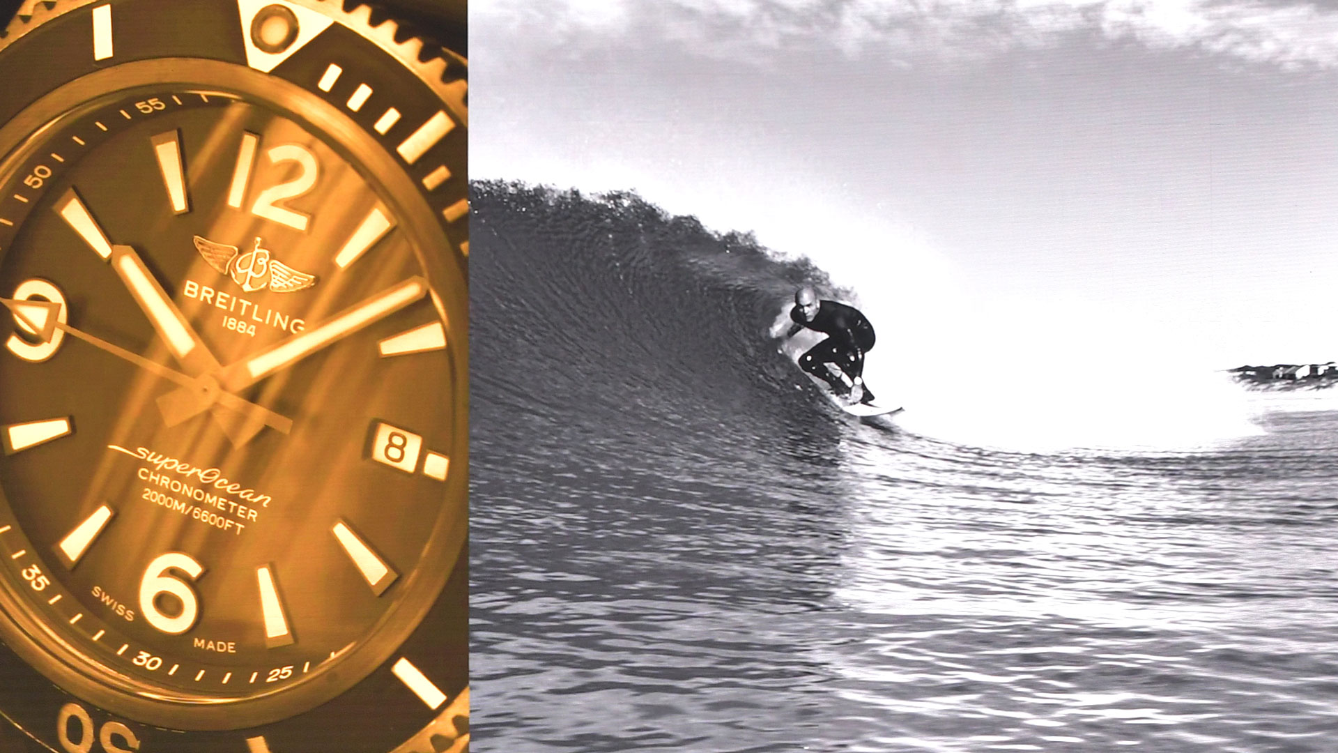 Breitling watch close-up and surfer in waves