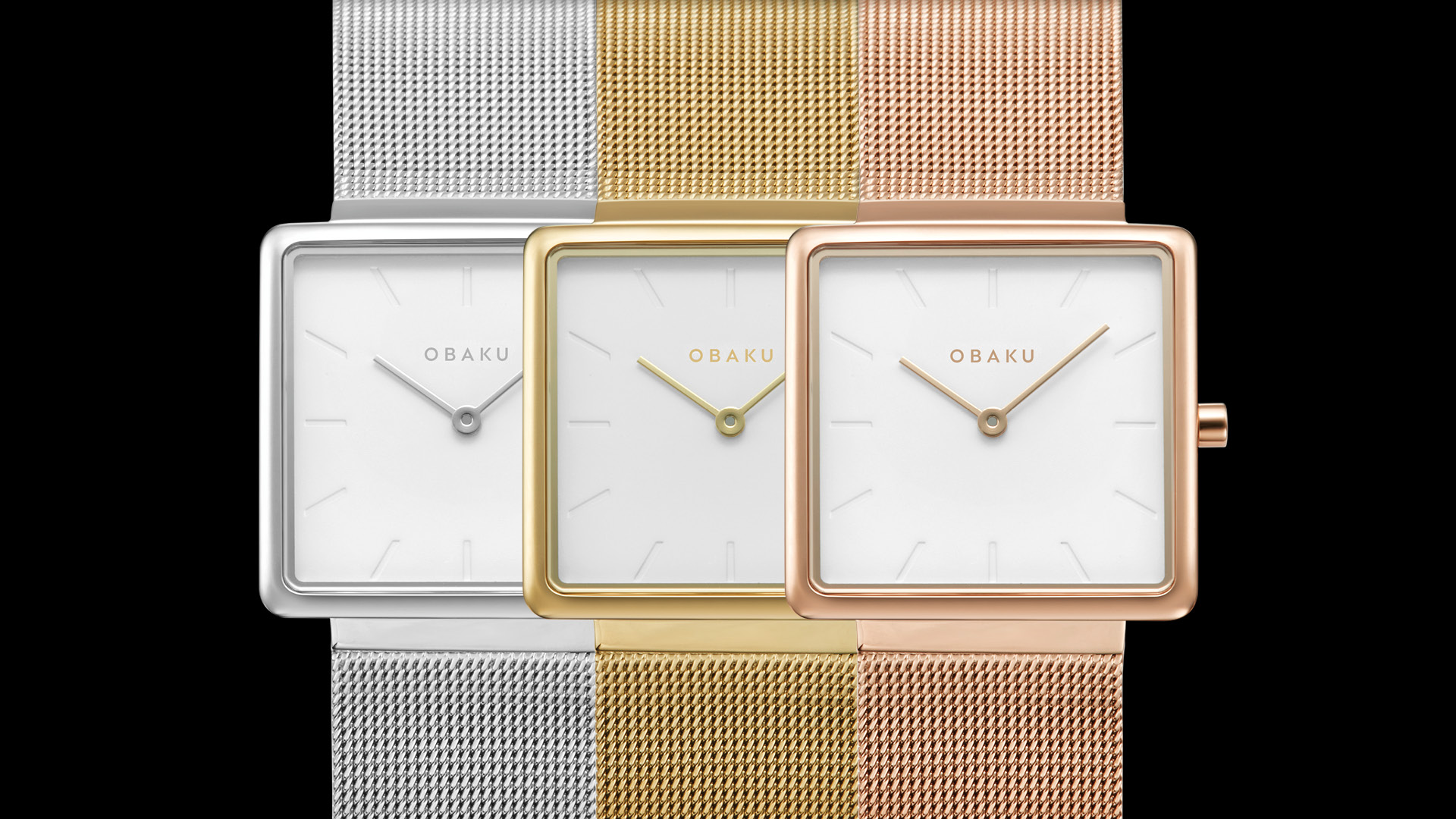 Obaku Kvadrat watches in Steel, Gold and Rose