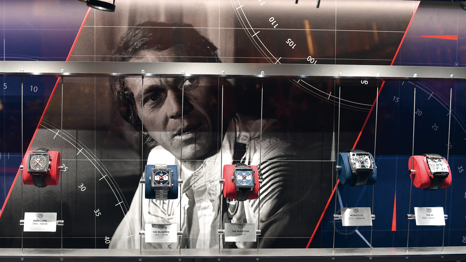TAG Heuer Monaco display at Baselworld 2019, actor Steve McQueen in the background