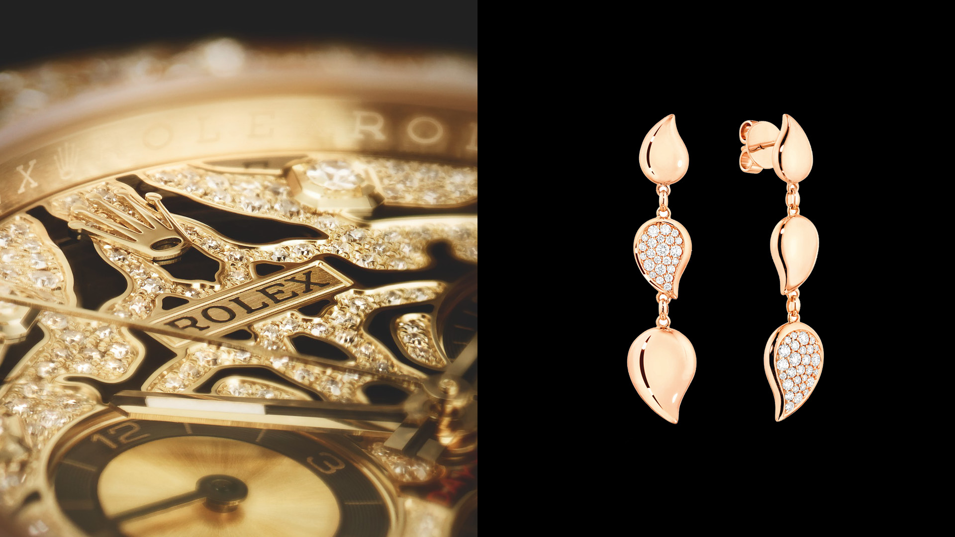 Detail of the Rolex Oyster Perpetual Cosmograph Daytona dial and Signature Wave earrings from Tamara Comolli