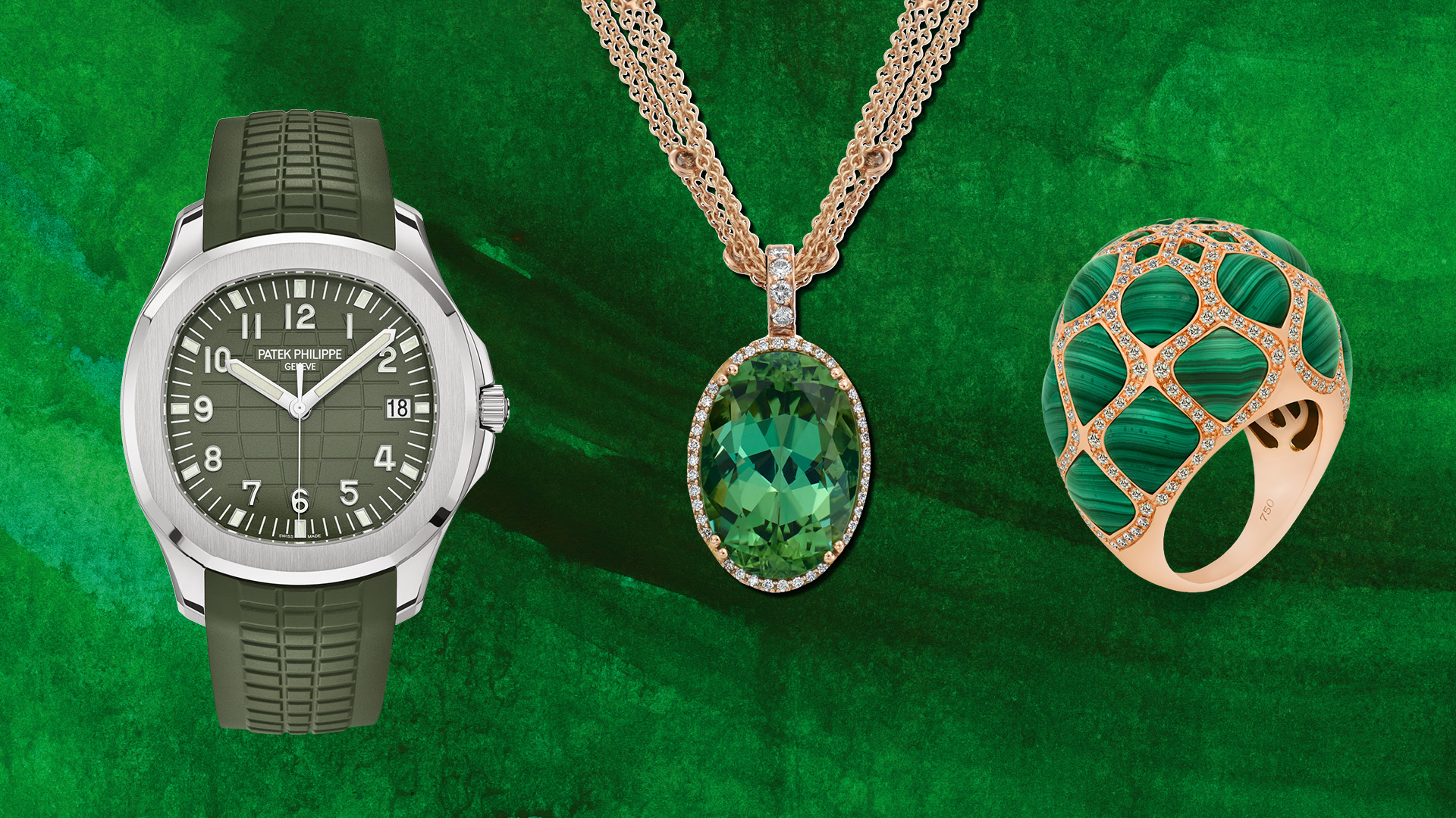 Patek Philippe Aquanaut Ref. 5168G, Heinz Mayer pendant with tourmaline, Sofragem Persepolis ring (from left)