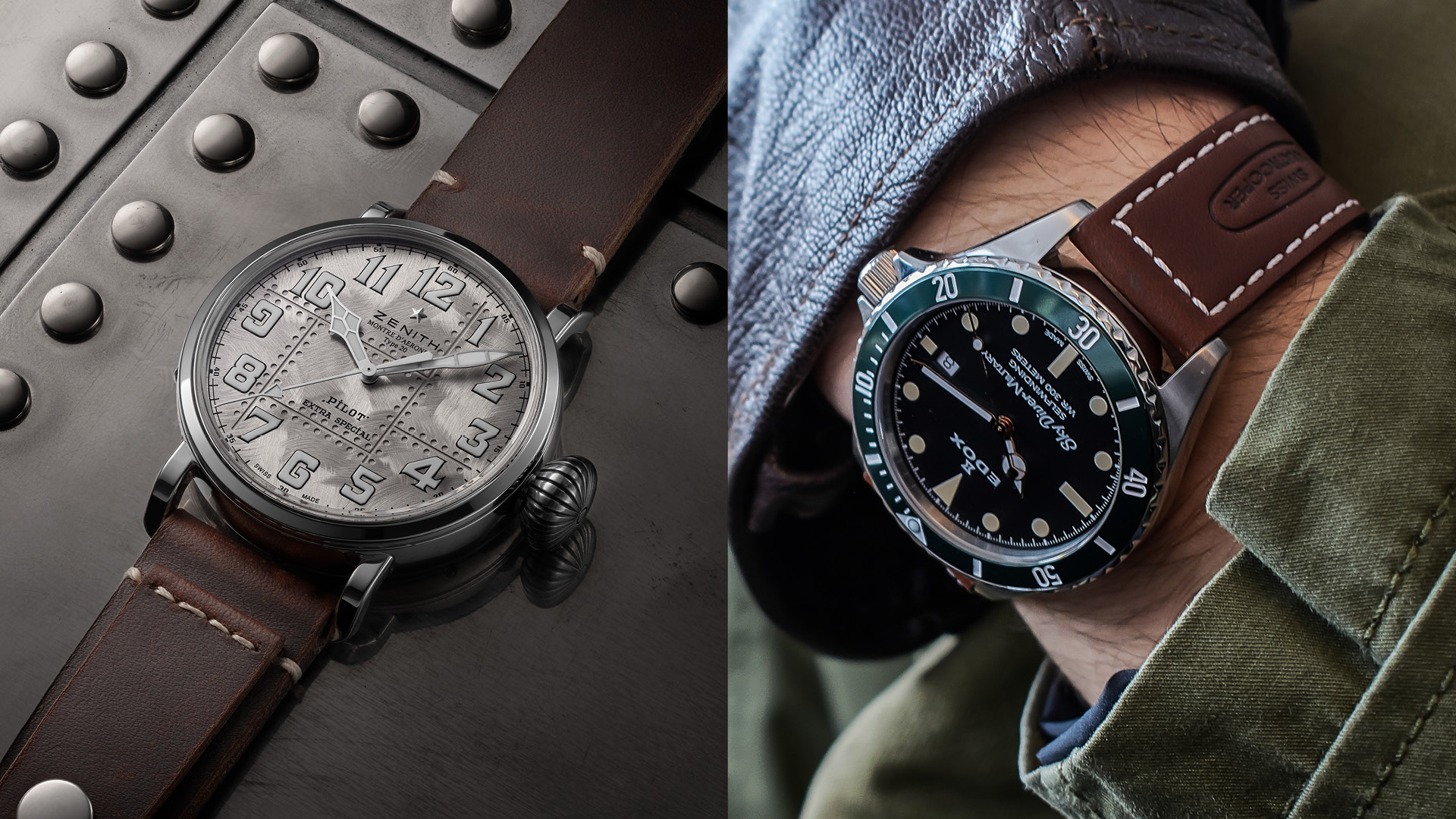 Pilot watches Zenith Pilot Type 20 Extra Special Silver and Edox SkyDiver Military